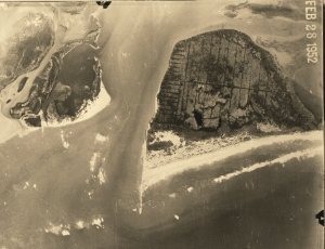 South Hutchinson Island aerial showing miquto ditches through mangroves and other vegetation. 1952 courtesy of Thurlow Archives.