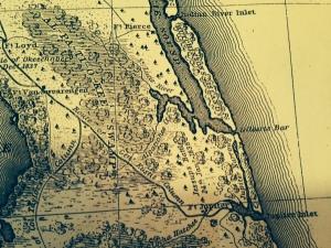 Map of Seat of War, 1839, East of Lake Okeechobee