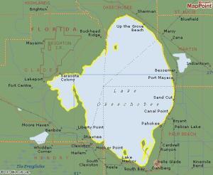 Five county property lines within Lake Okeechobee