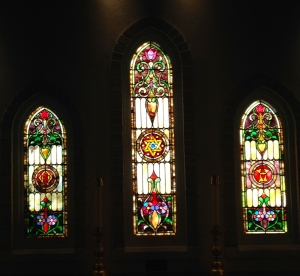 Stained glass windows from St Paul's Episcopal Church of Eden, later St Paul's' Church of Walton, now at St Mary's Church, Stuart. (Photo Sandra Thurlow)