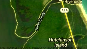 Blind Creek is located on Hutchinson Island just north of the St Lucie  Power Plant.