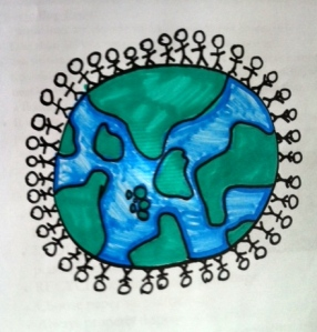 Last year, the people rose up giving the Indian River Lagoon her voice, and things will never be the same. (Drawing of Earth and water by Mary Thurlow, 11.)