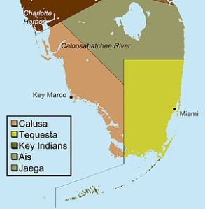 Locations of the historic Native American Tribes in South Florida.