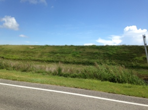 Southern dike around Lake Okeechobee looks more like a hill of grass.