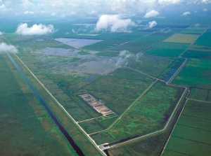 Aerial os STA in EAA surrounded by sugar fields. (Public photo.)