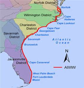 Atlantic Intercoastal Waterway from Maine to South Floida. (Map, public.)