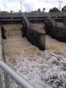 S-80 releases water from S-80 into the C-44 canal at St Lucie Locks and Dam, July 2014. (Photo  courtesy of Michael Connor.)