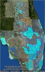 This satellite photo shows water on lands in 2005. One can see the lands in the EAA are devoid of water. This water has been pumped off the lands into the Water Conservation Areas, sometimes back pumped into the lake, and also stored in other canals. (Captiva Conservation 2005.)