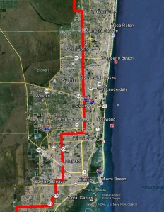 West of the red lines shows the edge of what was once the Everglades in South Florida. Development has crept and continues to creep over this edge. (Photo/map courtesy of Chappy Young,/GCY Surveyors, 2014.)