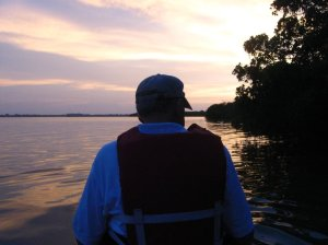 My father, Tom Thurlow, preparing for a kayak trip into the Indian River Lagoon to view the bioluminescent light show. (Photo Sandra Thurlow, August, 2014)