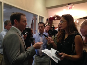 Reporter Isadora Rangel interviews Congressman, Patrick Murphy who attended the breakfast.