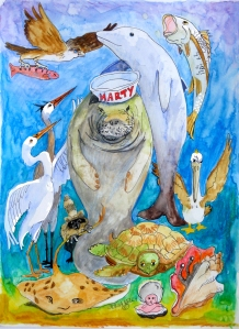 Marty the Manatee with all of his river friends. Julia Kelly, 2014.