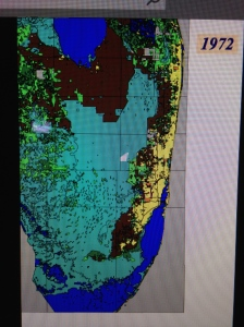 Color graph showing land use and development possible through drainage and redirection of natural water flow in South Florida by 1953. (SOFIA, Robert Renken team 2000.)
