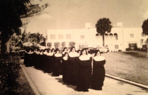 Nuns in front of the former Leach mansion, Tuckahoe.