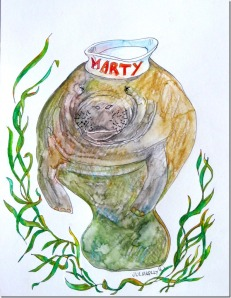 """Marty the Manatee"" by artist Julia Kelly, 2014."