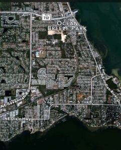 Looking at an aerial one can see that the Florida East Coast Railway swings east before reaching seal's Point.