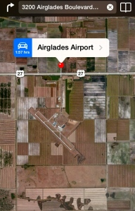 At closer view, one can see the Airglades Airport  amongst the sugar fields.