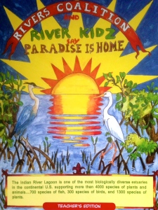"Cover of River Kidz, ""Paradise is Home""  workbook, first edition. Artwork by Julia Kelly, 2013."