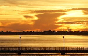 Sunrise over the fishing pier at the new Roosevelt Bridge. Photo by John Whiticar, 2014.