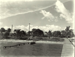 This is a photo of a sewer pipe going straight into the Indian River Lagoon. (ca. 1950 photo courtesy of Sandra Henderson Thurlow.)