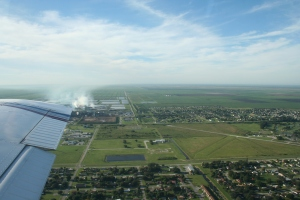 Circling over the city of Clewiston, the headquarters of US Sugar.