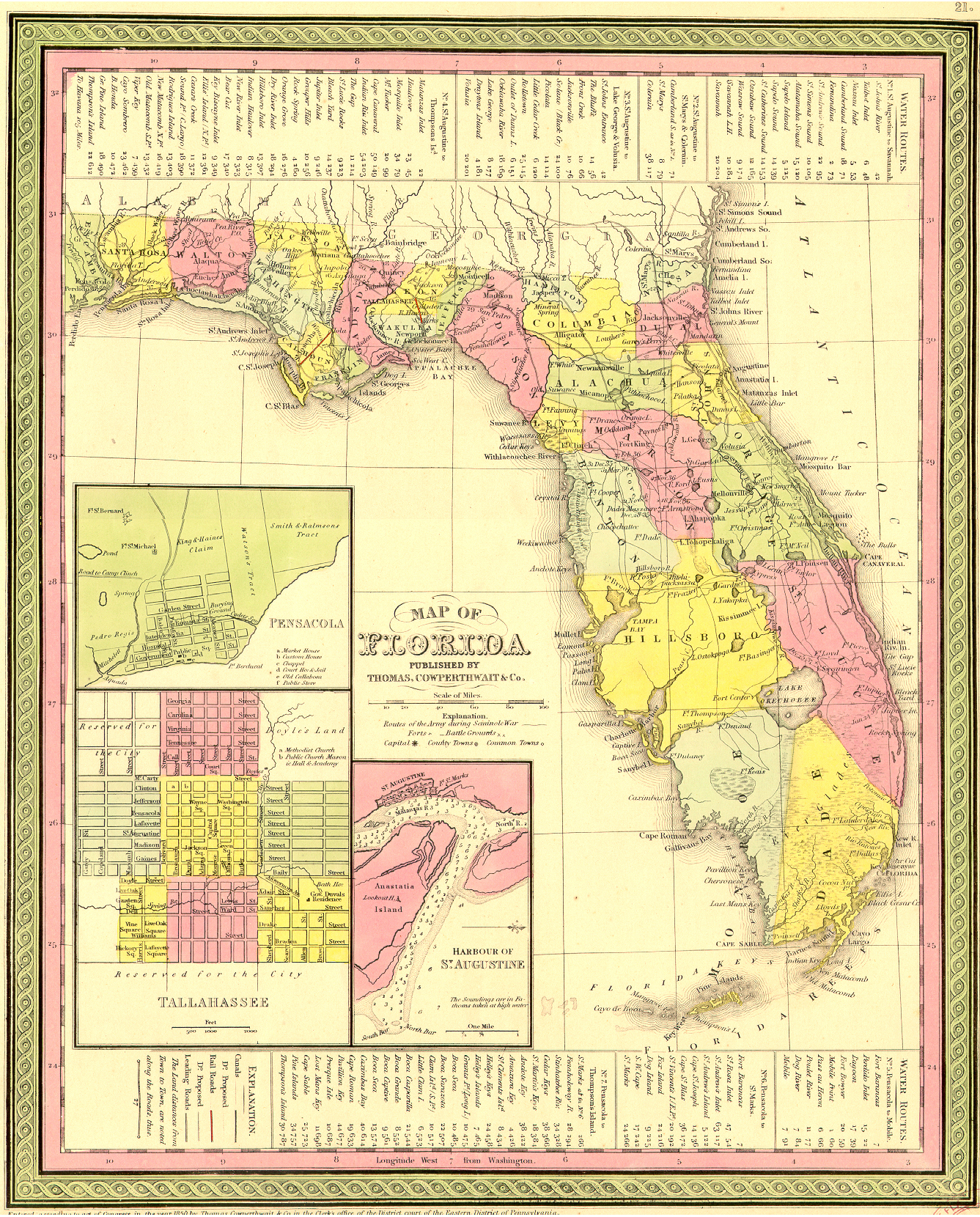Old Maps Jacqui ThurlowLippisch - Florida map rivers