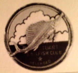 Stuart Sailfish Club release button, designed by Curt Whiticar,1941. (Photo courtesy of Thurlow archives.)