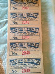 Toll Tickets for the Jensen Bridge. Courtesy Bob Washam.