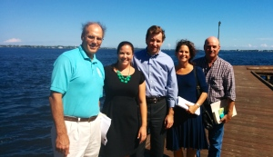 Ex. Director, Mark Perry, Florida Oceanographic; Dr. Tabitha Cale, Audubon Florida; Ex. Director, Eric Eichenberg, Everglades Foundation; Jacqui Thurlow-Lippisch, Comr. Sewall's Point; and Dr Paul Grey, Florida Audubon stand before the St Lucie River, Downtown Stuart, October, 2014.