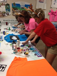 River Warrior ladies busy creating shirts