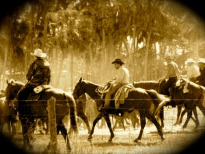 "Cowboys at work at the Adams Ranch, St Lucie County, FL. Photo courtesy of Adams Family and ""Port St Lucie at 50 , a City for All People,"" by by Nina Baranski for the Historical Society of St Lucie County."