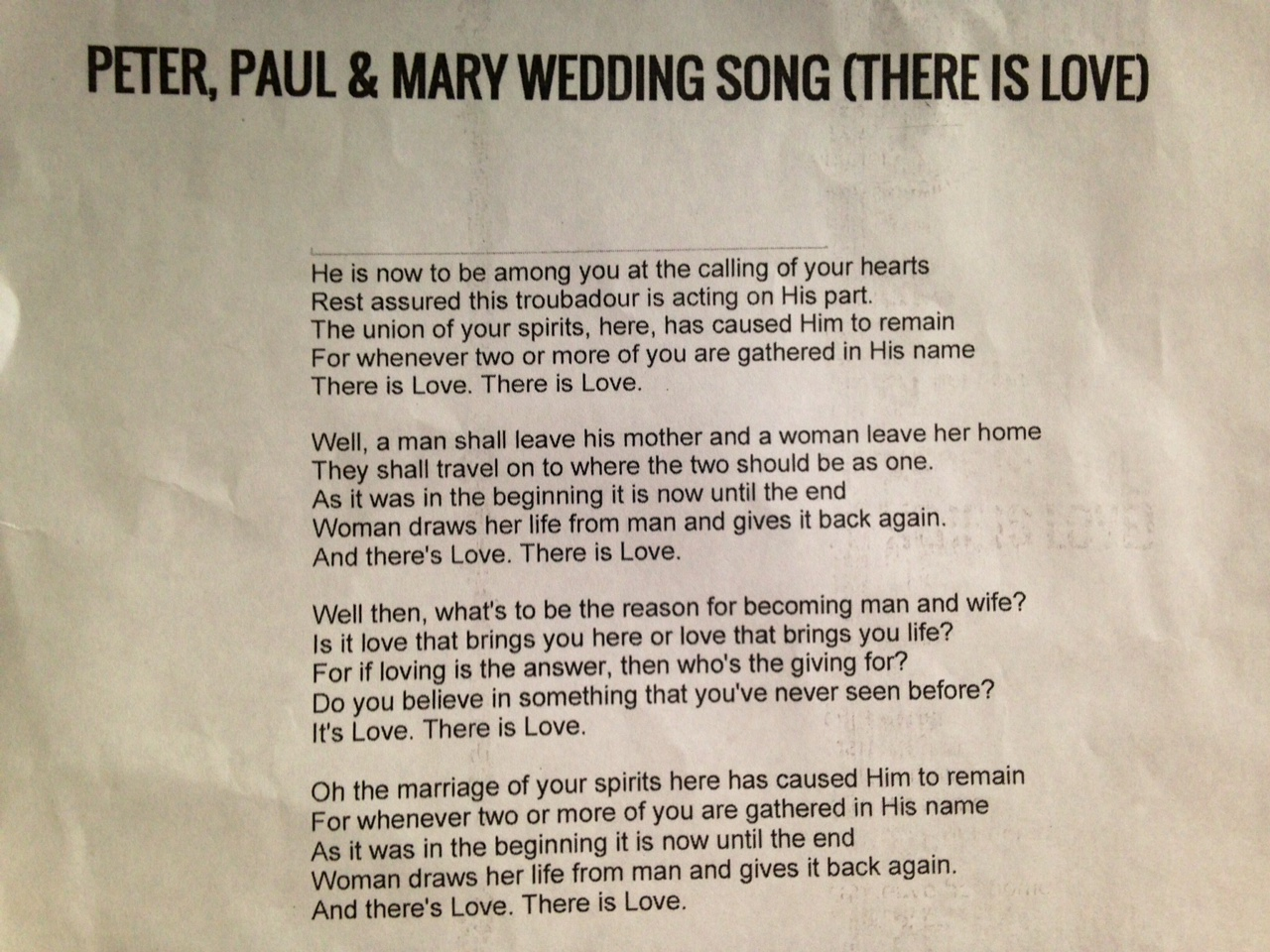 Wedding Song Peter Paul And Mary