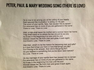 Wedding Song, Peter, Paul and Mary