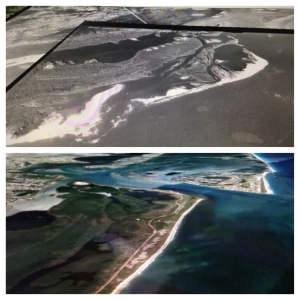 Comparison of 1947 USGS map/natural inlet break 1.1 miles south of  St Lucie Inlet and an aerial from Google Earth 2014.