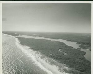 Aerial of Peck's Lake area with new inlet. (Whiticar, ca 1960s)