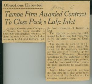 News clip regarding Peck's Lake Inlet contract dated June 6th, with no year. (Whiticar, ca. early 1960s)