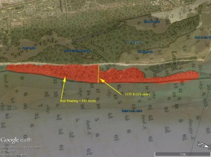 Shoreline loss since 1887 map as determined by