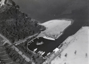 Aerial of Francis Langford's Outrigger Resort's marina, ca. 1955. Visible is the dredge and fill it took to accomplish this project. (Photo courtesy of Thurlow archives.)
