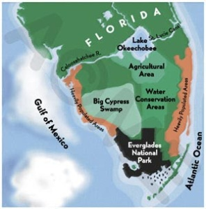 Image denoting locations south and around Lake Okeechobee.  (Public image.)