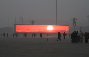 "China starts ""televising"" the sunrise in Beijing, 2014. (Source earth journal.com.)"