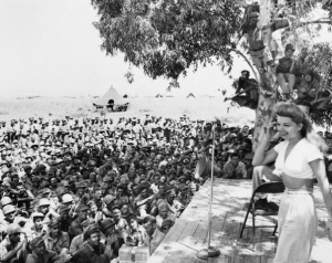 "Singing to the troops with Bob Hope. ""The favorite time of her life..."" (Public photo.)"