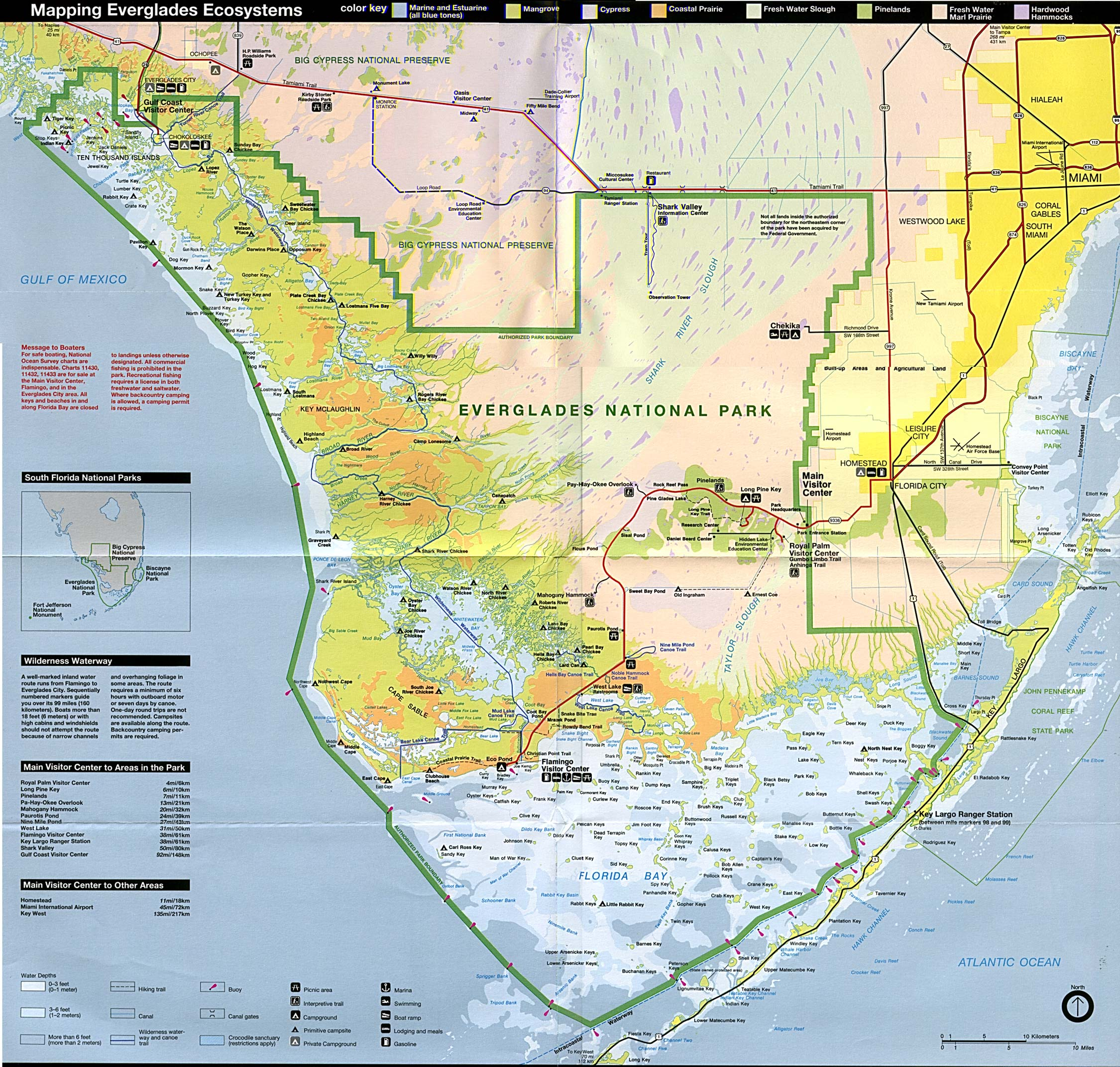 Where do the Water Conservation Areas End and Everglades National