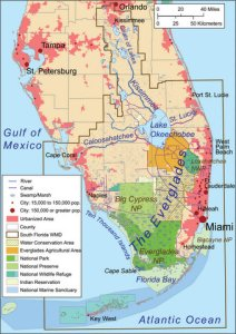 Map showing Everglades National Park boundaries as well as Water Conservation Areas north of the park and other areas. (Map courtesy of Backroads Travels website, 2013.)
