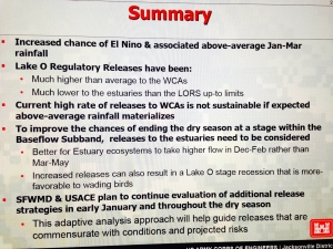 ACOE/SFWMD summary at last Periodic Scientist Call,
