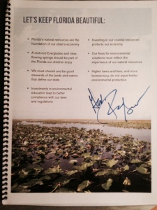 The inside cover of Rick Scott's campaign booklet Let's Keep Florida Beautiful, 2014. Photo JTL)