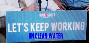 "Let's Keep Working was Gov. Scott's reelection campaign slogan. ""Clean Water""  was part of his promise and for many it is an important piece of creating jobs and a number one priority."