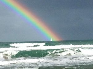 Rainbow over the St Lucie River/Indian River Lagoon or Atlantic Ocean? (Jensen Beach, 2-8-15, Jacqui Thurlow-Lippisch)