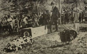 1970 Martin County High School, funeral for the SLR/IRL. Mark was one of the students who participated in this Earth Day event. (Thurlow Archives)