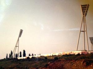Wall surrounding stadium. stadium. (JTL )