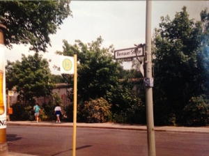 Bernauer Strausee, Berlin Wall in background. (JTL 1990.)